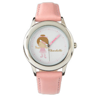 Pink Little Ballet Dancer Personalized {redhead} Wristwatches