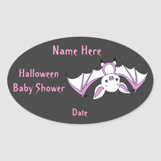 Pink Little Bat Baby Shower Stickers