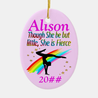 PINK LITTLE BUT FIERCE CUSTOM GYMNAST ORNAMENT