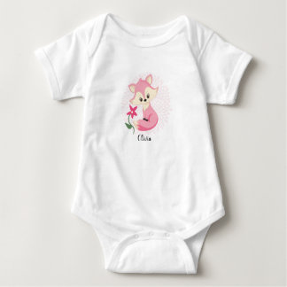 Pink Little Fox Baby Bodysuit