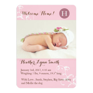 Pink Little Girl Birth Announcement