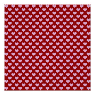Pink Little Heart Pattern with Red Background Poster