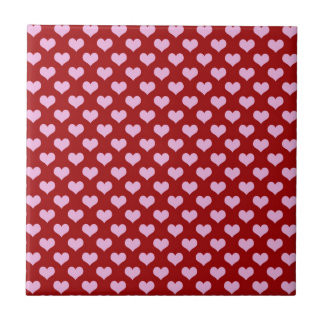 Pink Little Heart Pattern with Red Background Small Square Tile