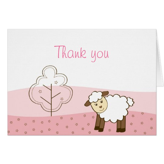 Pink Little Lamb Thank You Note Cards