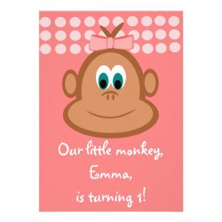 Pink Little Monkey Children s Birthday Invitations