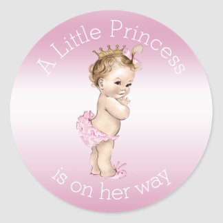 Pink Little Princess Baby Shower Classic Round Sticker