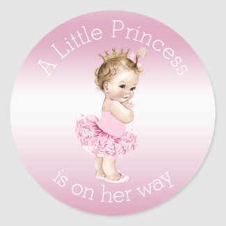 Pink Little Princess Ballerina Baby Shower Round Sticker
