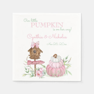 Pink Little Pumpkin Patch Girl Baby Shower Paper Napkin
