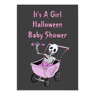 Pink Little Skeleton Baby Shower Invitation Cards