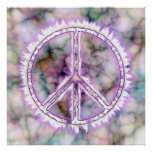 Pink Live Electric Energy Peace Sign Poster Print