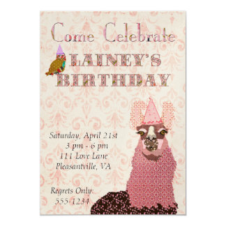 Pink Llama Birthday Invitation