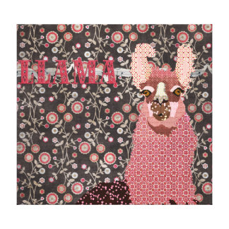 Pink Llama Brown Vintage Floral  Art Canvas