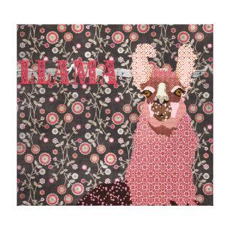 Pink Llama Brown Vintage Floral  Art Canvas Stretched Canvas Prints