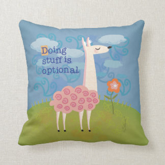 Pink Llama on Hilltop Throw Pillow