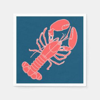 Pink Lobster Dark Blue Seafood Napkins Disposable Napkin
