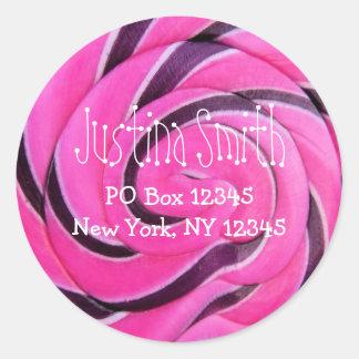 Pink Lollipop Address Round Sticker