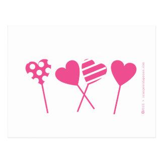 Pink Lollipop Hearts Postcard