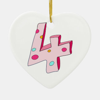 Pink Lolly 4 Birthday Heart Ornament