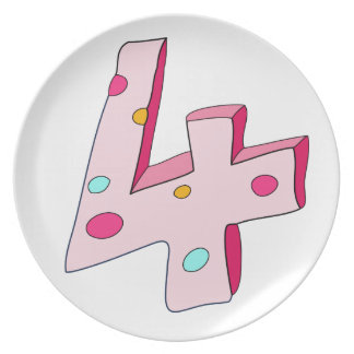 Pink Lolly 4 Birthday Plate