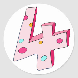 Pink Lolly 4 Birthday Stickers