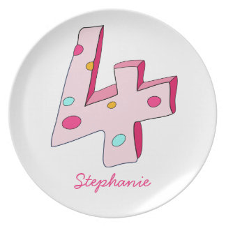 Pink Lolly 4 Personalised Birthday Plate