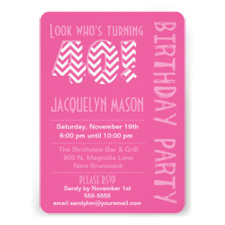 Pink Look Who s Turning 40 Birthday Invitation