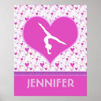 Pink Lots o' Hearts Gymnast Poster