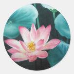 pink lotus 2 round stickers