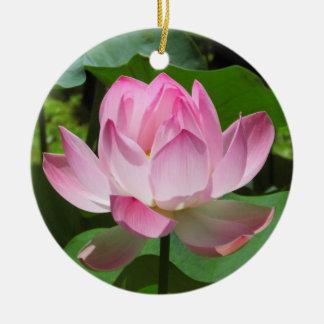 Pink Lotus Bloom Christmas Ornament