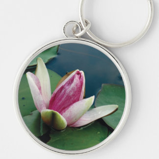 Pink Lotus Blossom Photo Round Key Ring