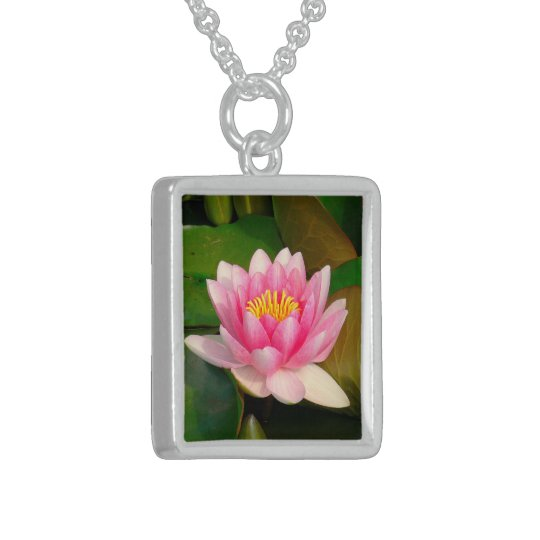 PINK LOTUS BLOSSOM (PHOTOG.) STERLING SILVER NECKLACE