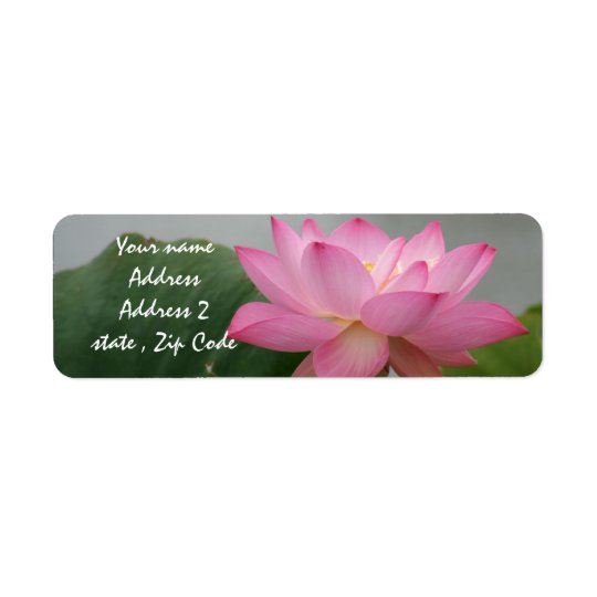 Pink Lotus Blossom Return Address Label
