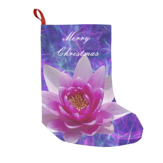 Pink lotus flower and meaning small christmas stocking