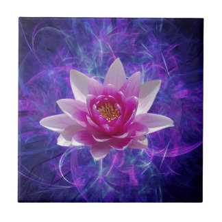 Pink lotus flower and meaning small square tile