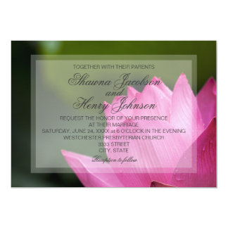 Pink Lotus Flower Elegant Wedding Invitation