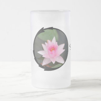 Pink Lotus Flower Frosted Glass Mug