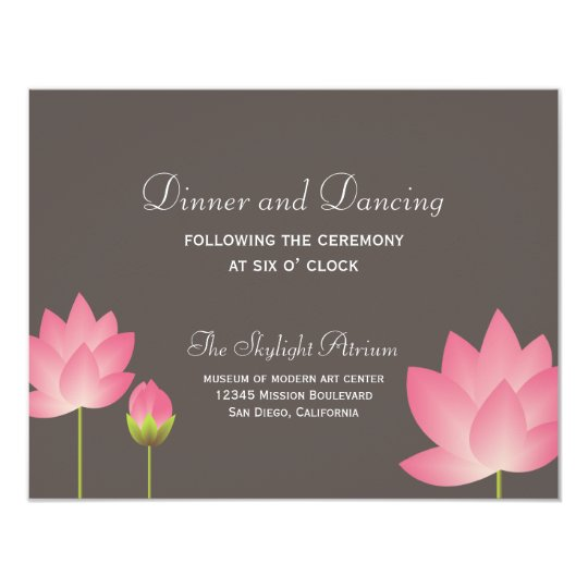 Pink lotus flower grey wedding reception enclosure card