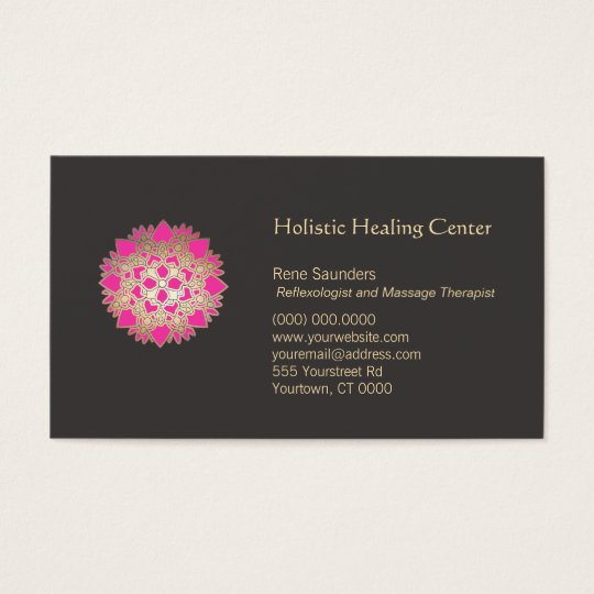 Pink Lotus Flower Holistic Natural Healing Arts Business Card