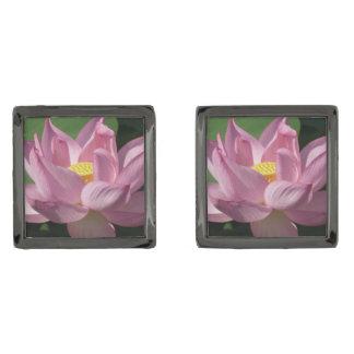 Pink Lotus Flower IV Gunmetal Finish Cufflinks