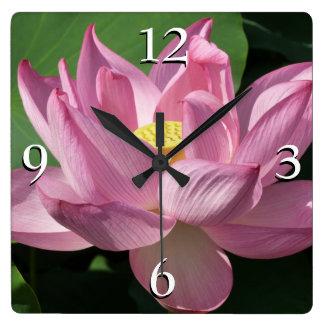 Pink Lotus Flower IV Square Wall Clock