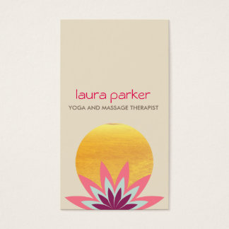 Pink Lotus Flower Logo Yoga Healing Health Business Card