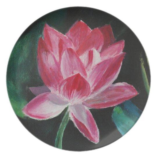 Pink Lotus Flower Melamine Plate