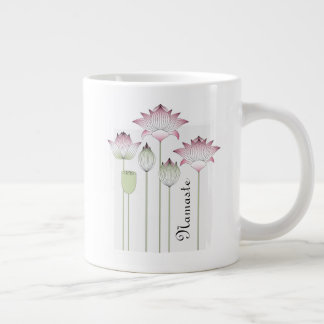 Pink Lotus Flower Namaste Elegant Modern Name Large Coffee Mug