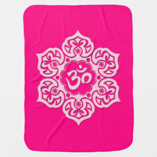 Pink Lotus Flower Om Baby Blanket