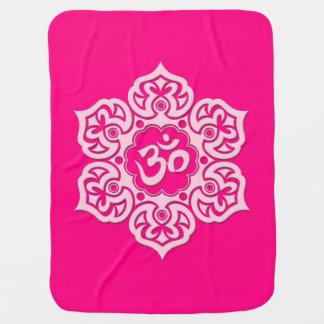 Pink Lotus Flower Om Swaddle Blankets