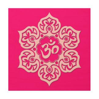 Pink Lotus Flower Om Wood Wall Art