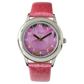 Pink lotus flower Peace design Watch