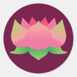 Pink Lotus Flower Round Stickers