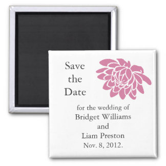 Pink Lotus Flower Save the Date Magnet white