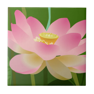 Pink Lotus Flower Small Square Tile